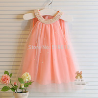 Wholesale Plenty Stock Korean girl dress children fairy chiffon clothings yrs baby girl pearls collar dresses for princess girl