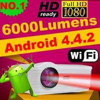 achat en gros de cinéma maison intelligente-Gros-Android 4.4 wifi puce 1080p LED 3D projecteur avec tuner TV 6000 lumens projektor beamer 1280 * 800 home cinéma théâtre ATCO