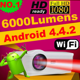 Wholesale-Android 4.4 wifi smart 1080p 3d led projector with tv tuner 6000 lumens projektor beamer 1280*800 home cinema theater ATCO