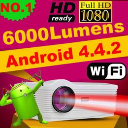Gros-Android 4.4 wifi puce 1080p LED 3D projecteur avec tuner TV 6000 lumens projektor beamer 1280 * 800 home cinéma théâtre ATCO à partir de cinéma maison intelligente fabricateur