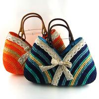 straw beach bag - summer straw bag Sweet lady Rainbow Handbags beach bag ZFC144