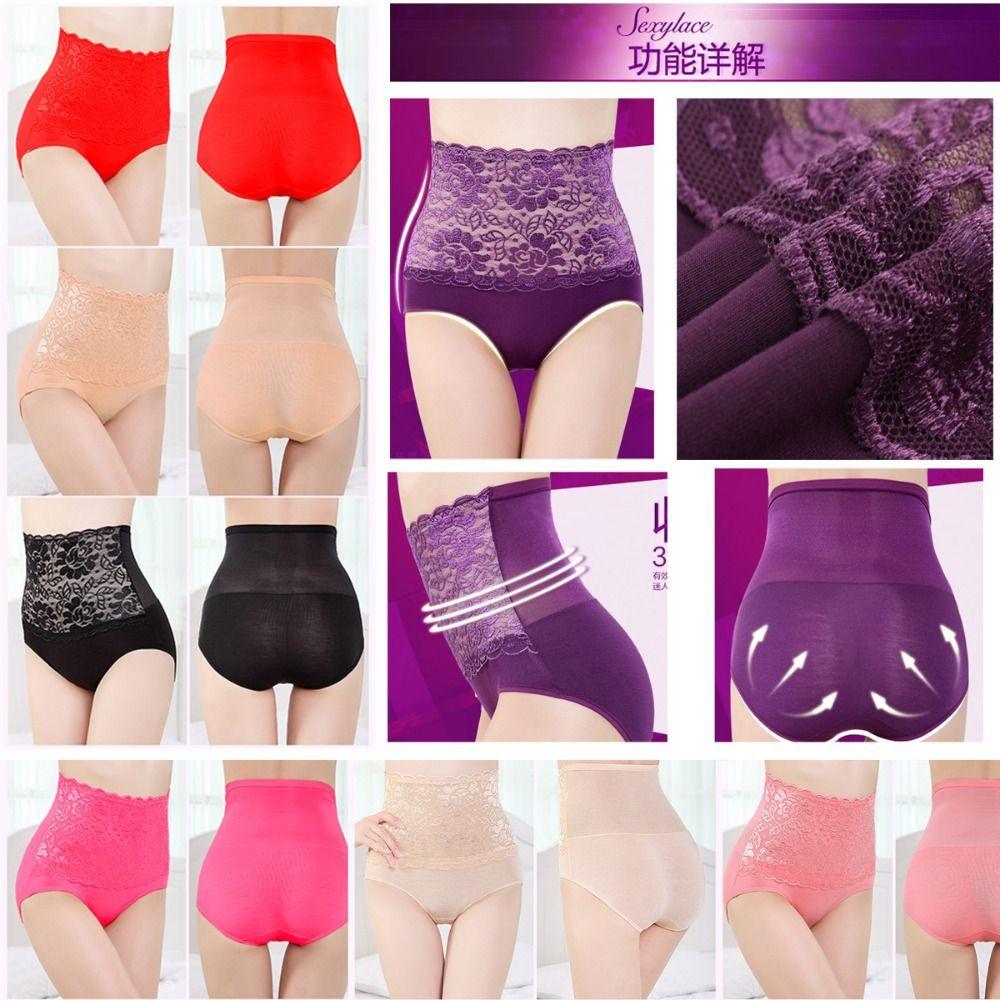 Wholesale-(2 Piece)Women Modal High Waist Sexy Lace Belly Carry Buttock Intimates Briefs Underwear Sharpers,Slim Corset Abdomen Hip Body
