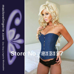 Wholesale-New Arrival S M L XL Size Arrival 2015 Women Corset Free Shipping New Strapless Denim Blue Strapless Corsets And Bustiers