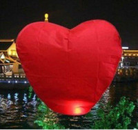 Cheap Wholesale-5pcs Chinese Sky fire Red Heart Lanterns Wedding Birthday Wishing Balloon-FREE SHIPPING