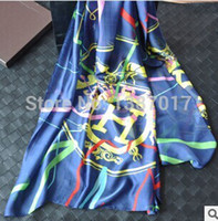Cheap Wholesale-Korean brand new spring and summer 2015 women in Europe and America retro wagon scarves printed silk scarves