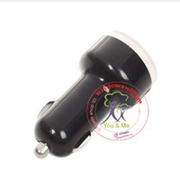 Wholesale Car Charger for iPad iPhone iPod USB Powered gadgets Dual USB Port black color
