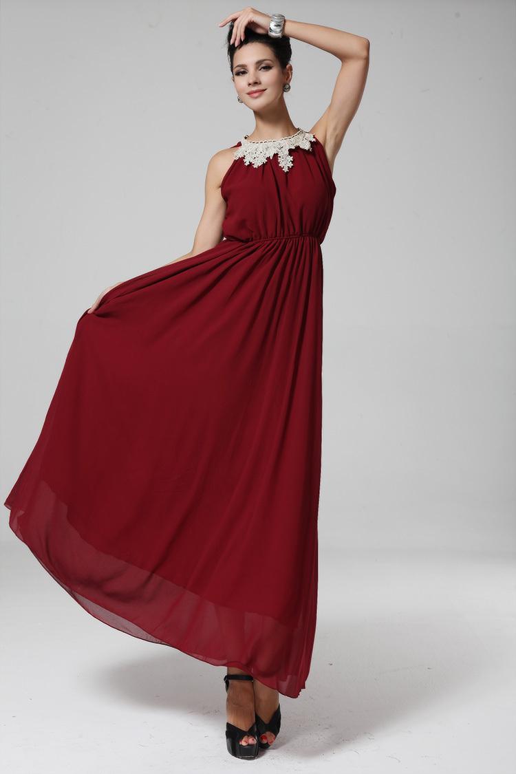 Wholesale-Vestido De Festa Longo Noite Noche New Sale Chiffon Red ...