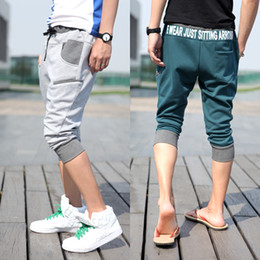 Wholesale- New Shorts Mens Summer Slim Fit Waist Letters Printed Joggers Shorts Fashion Cotton Sports Capri Harem Shorts 4Colors Sale!