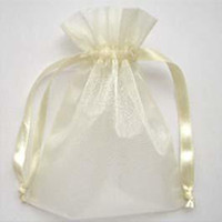 Wholesale 200 Ivory Organza Gift Bag Wedding Favor X9 cm x3 inch Packaging Wrap
