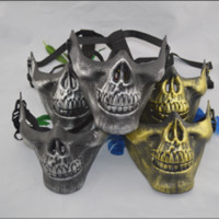 metal face mask - New Fashion Metal texture Skull Mask CS Fadac Field Full Face Protective Mask Terrorist Party Mask