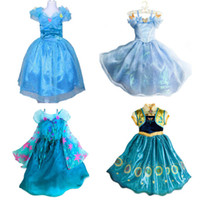 Cheap Wholesale-In Stock 2015 Baby Girl Dress Fantasia Elsa Anna Infantil Cinderella Dress Kids Party Princess Costume Fever Vestidos Robe Fille