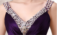 Wholesale Double Shoulder V Neck Silk Beading Purple Evening Dress Bride Slim Wedding Party Dress