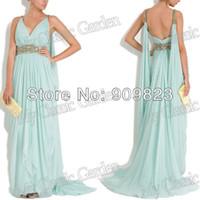 flex belt - New Arrival Designer V Neck Beaded Belt Mint Chiffon Embellished Grecian Gown Large Flex Chiffon Evening Dresses Gowns