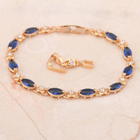 Wholesale Top quality K Gold Plated blue topaz design Bracelets for women Health Nickel amp Lead free fashion jewelry TB187