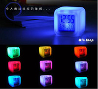 Wholesale 12pcs LED Colorful Clock digital Color Changing Alarm perfect gift