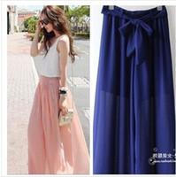 Cheap Wholesale-Fashion Women's Trendy Sweet Chiffon High Waist Wide Leg Palazzo Pants Trousers
