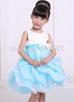 Cheap Wholesale-New Arrival Fashion Little Girls Pageant Dress Blue Sleeveless Ball Gown Bow Tassel Flower Girl Dress For Wedding