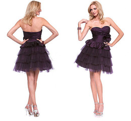 Wholesale WoW Hot Sexy purple Cocktail Dresses A line Sweetheart line Mini Pretty layered Prom Evening dress