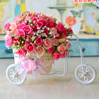 plastic rattan - plastic rattan wicker tricycle vase include flowers wedding home decoration bandwagon artificial rose flower set