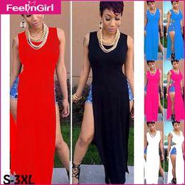 Wholesale-Summer Dress 5 Colors Casual Maxi Dress Clubwear Party Cut Out Vestidos Woman Club Outfit Fashion Plus Size Club Dresses