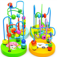 Wholesale Baby Kids Early Education Toy Colorful Wooden Mini Around Beads Wire Maze Toys