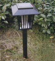 Wholesale LED Garden Lights Solar Ground Powered Pest Killer Mosquito Repeller Landscape Zapper Light Black
