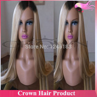 Cheap Wholesale-Cheap Brazilian Silky Straight Ombre Lace Front Wig #1bT#613 Blonde Two Tone Human Hair Wigs for Charming Women