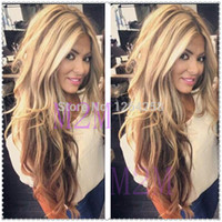 Cheap Wholesale-virgin Ombre Full Lace Wig,Fashion Brazilian Ombre Full Lace Wigs 100% Human Hair Two Tone Ombre wigs #4#27 For Hot Black Women
