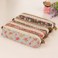 Cheap Wholesale-1PC Retro Korean Lace Fabric Pencil Box Case Bag Zipper Pen Cases for School Kids Fashion Floral Organizer Women Cosmetic 8NDc