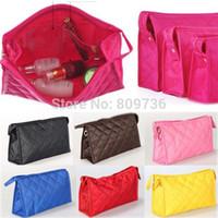 Cheap Wholesale-Hot New Fashion Women Zipper Cosmetic Makeup Bag Handbag Purse Pouch Travel Pen Pencil Case 10 Colors Free Shipping