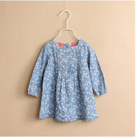 Wholesale Y4B1002 New Spring Autumn Brand Za Girl Floral Blouse Blue Longsleeve Girl Top Children s Clothing