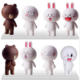 Wholesale Line Dolls For Free - Wholesale-Free shipping 8 psc set Japanese toys line cute brown bear cony rabbit vinyl doll for kids Gift Christmas gifts  wholesale