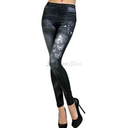 Wholesale Look Punk Casual - Wholesale-2015 Sexy Tattoo Jeans Woman Look Sport Punk Fitness American Apparel Jeans Casual Pencil Skinny Women Jeans Pants FC94