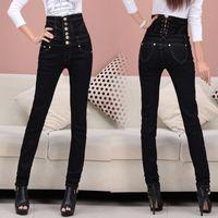 Wholesale winter women jeans high wasit pencil pants thick exrta size denim pants fashion thin trousers