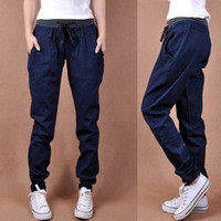Wholesale new women s autumn spring and summer long loose harem jeans blue casual jeans S XXL