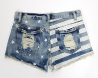america mail - Hot sale summer new arrival women s fashion denim shorts America flag short jeans female girls LJC74 Package mail