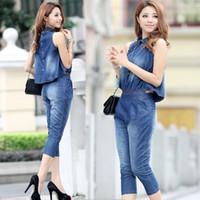 Wholesale casual thin denim jumpsuit capris women jeans overalls short tops ladies slim fit separable womens set plus size hot sale