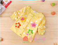 Wholesale New autumn girls Sweet flower long sleeved clothing baby knitted sweater coat kids outfits wear whloesale
