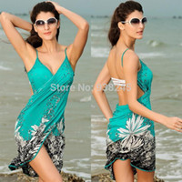 animal outings - New Summer Ultra thin Elegant Print Chiffon Outings Beach Bathing Cover Up Dress Women s Beach Wraps Wear