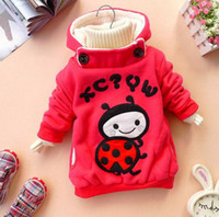 baby beetle clothing - winter girls clothing plus thick velvet cartoon ladybug children sweatshirt baby child clothes beetle hoodie jacket