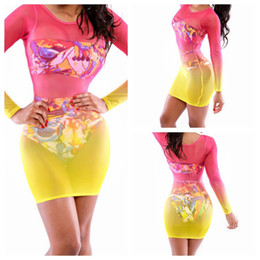 Wholesale-Women Dresses For Beach Colorful Full Sleeve Beach Cover Ups Sheath Bodycon Pareo Women Tunic Swimsuit Bathing Suit Rose Yellow