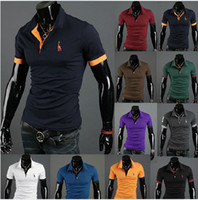 Wholesale Freeshipping export the European Deer embroidery short sleeved shirts mens dress shirts tri color T23