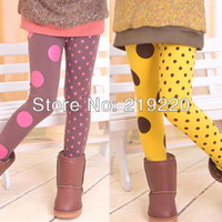 anc shipping - children girl s dots style long trousers yellow anc coffee colors leggings long trousers