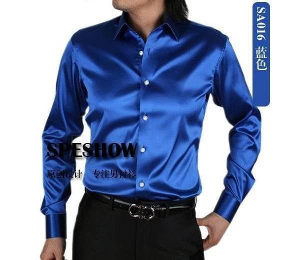 Wholesale-Free Shipping shirt Men's SA015 and retail White shiny silk satin long-sleeved