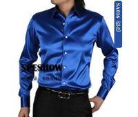 Wholesale shirt Men s SA015 and retail White shiny silk satin long sleeved