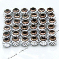 aluminium bracelet - 100x New Coffee Aluminium Carved Beads Fit Bracelets
