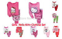 Wholesale new arrival baby girls hello kitty cartoon designer pajamas suits kids PJS for years toddler sleepwear for kids pijamas