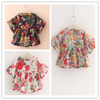 Wholesale Hu sunshine new summer girls kids flowers floral print blouse