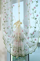kitchen curtains - Flower Embroidery Removable Short curtains for Kitchen Room Curtains Shade cortinas Window Roman tulle