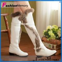 Wholesale Plus Size Real Rabbit Fur Low Heels Platform Long Over The Knee Women s Warm Fur Footwear Snow Boots Winter Shoes WB805
